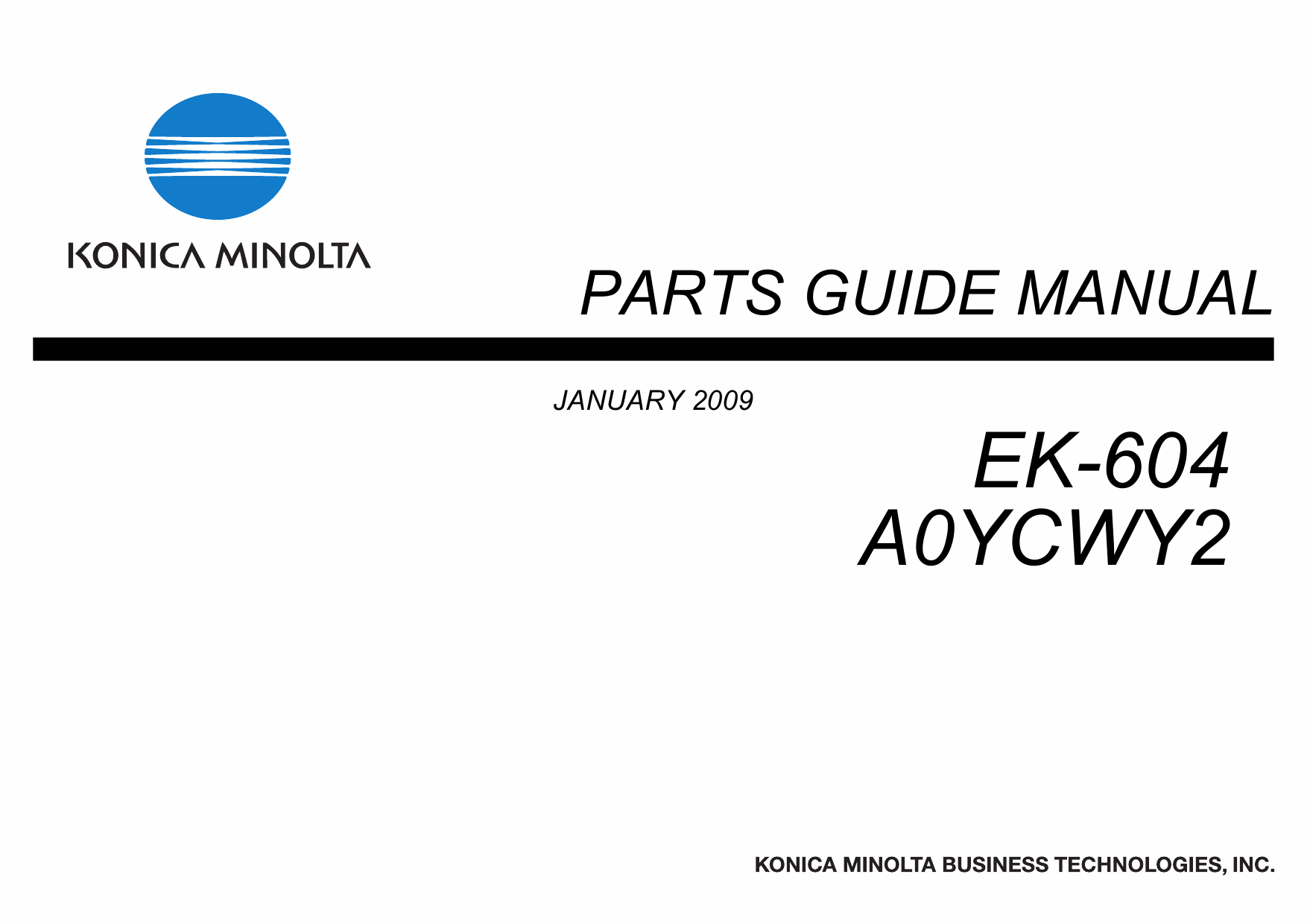 Konica-Minolta Options EK-604 A0YCWY2 Parts Manual-1